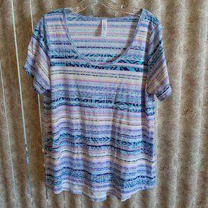 Lularoe pastel striped tee size XL